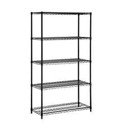 Honey-Can-Do International 72-inch H x 36-inch W x 16-inch D 5-Shelf Steel Shelving Unit in Black