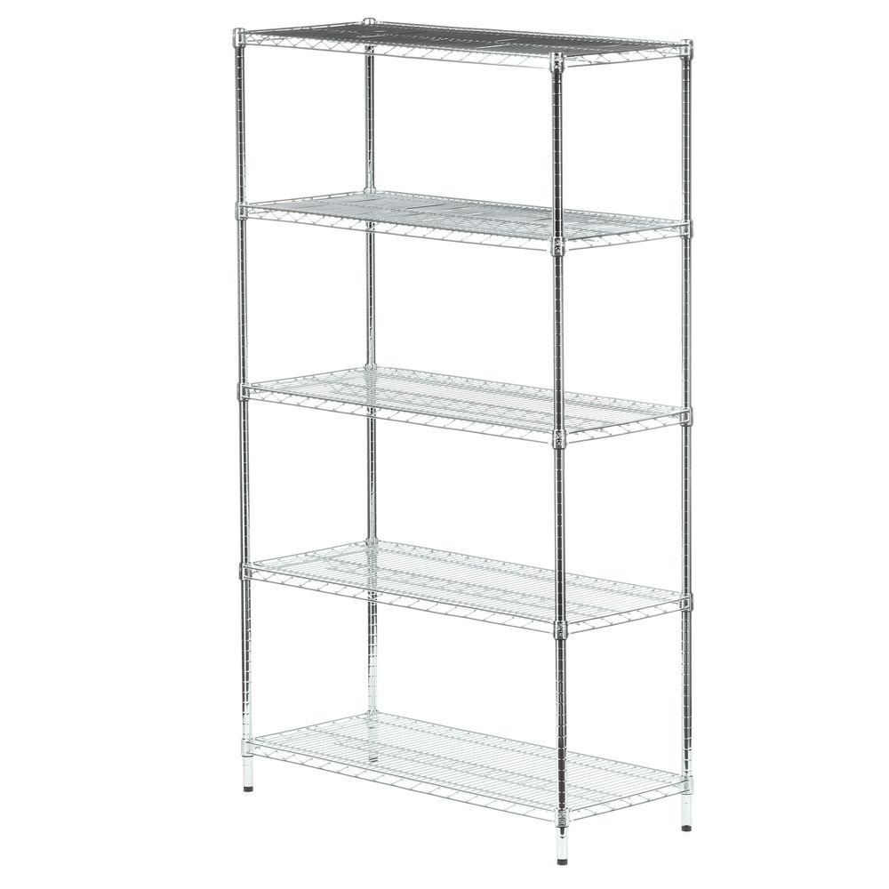 Five tier chrome storage shelves 800lb