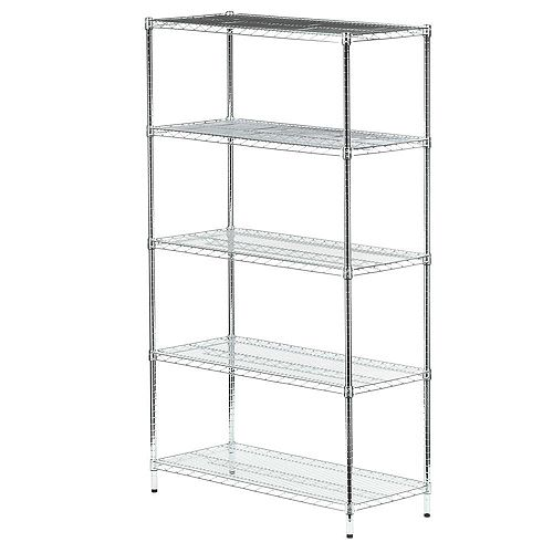 Honey-Can-Do 72-inch H x 42-inch W x 18-inch D 5-Shelf Steel Shelving Unit in Chrome