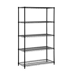 Honey-Can-Do International 5-Shelf 72-inch H x 42-inch W x 18-inch D Steel Shelving Unit in Black
