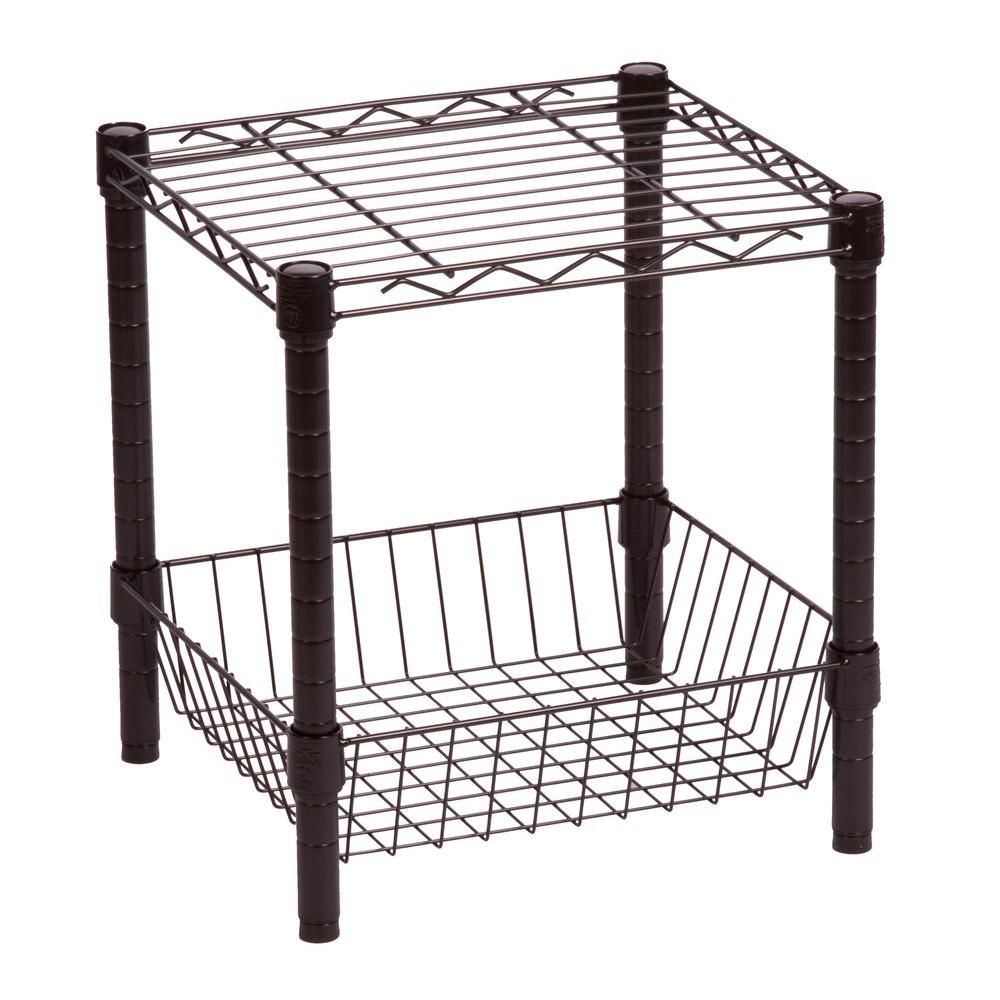Honey-Can-Do International Commercial Metal Table with Basket in Black