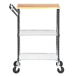 Honey-Can-Do International 2-Shelf Steel Wire Rolling Chopping Block Cart with Handle In Chrome