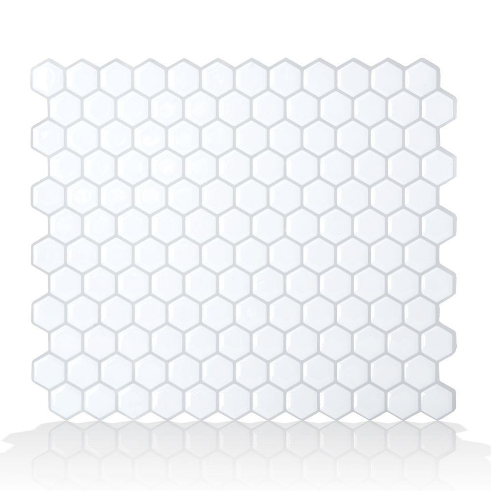 1 - Piece 11.26  Inch x 9.63  Inch Peel and Stick Hexago Mosaik