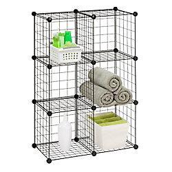 Honey-Can-Do International 30.25-inch W x 44.75-inch H Black 6-Cube Modular Mesh Storage Organizer