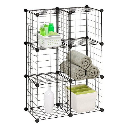 Honey-Can-Do 30.25-inch W x 44.75-inch H Black 6-Cube Modular Mesh Storage Organizer