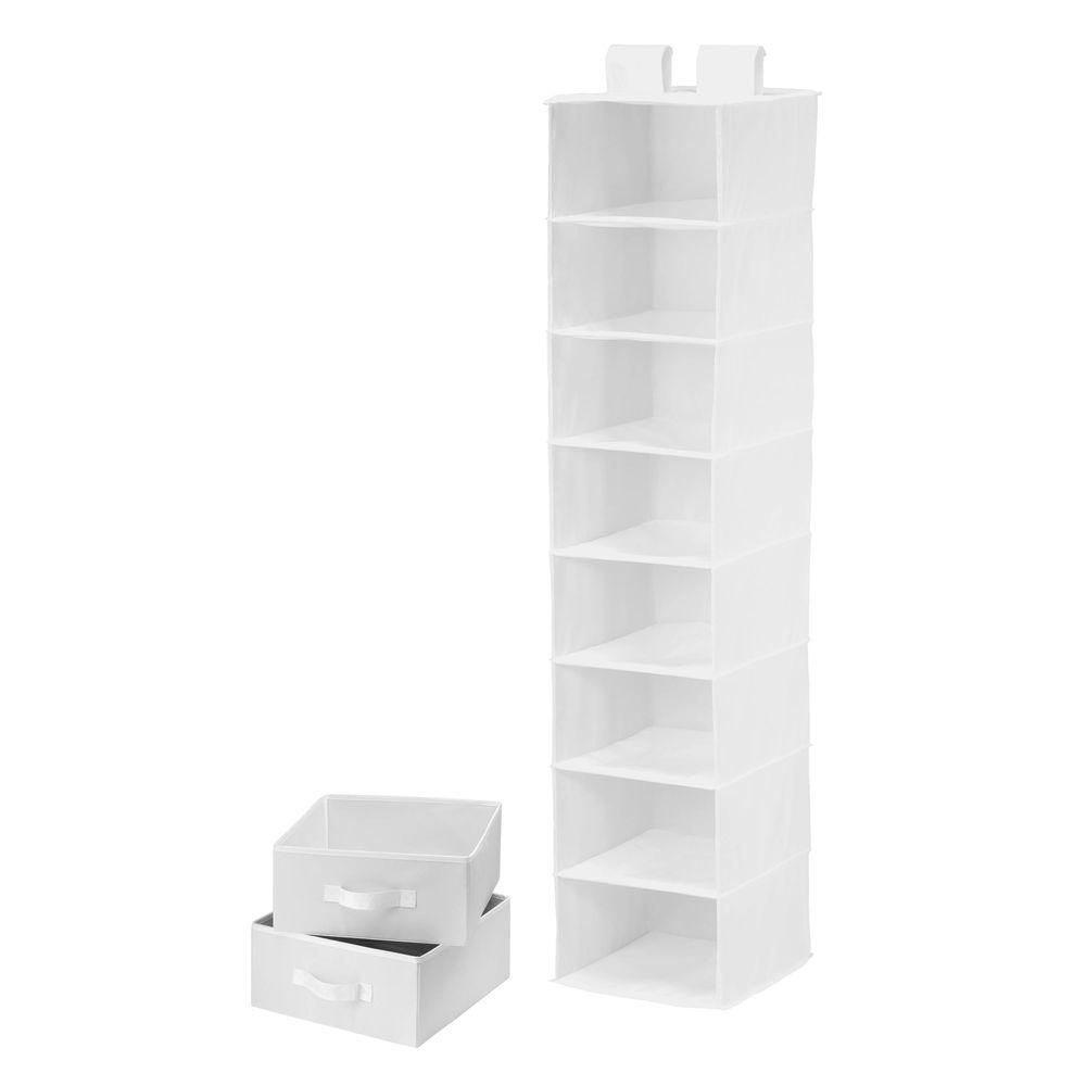 8 Shelf Organizer and Two Drawers- white polyester SFT-01744 in Canada