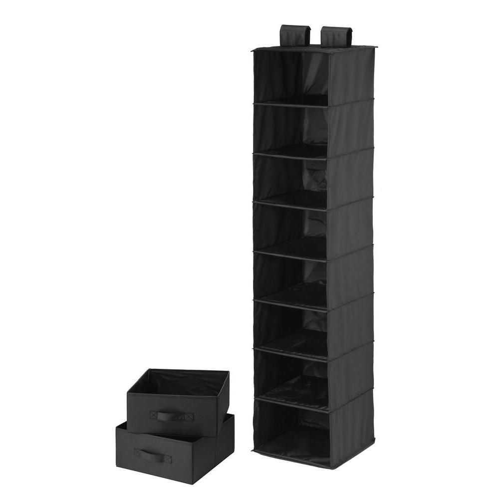 8 Shelf Organizer and Two Drawers- black polyester
