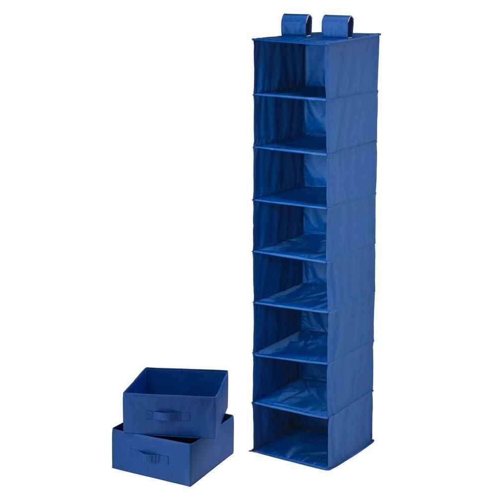 8 Shelf Organizer and Two Drawers- blue polyester