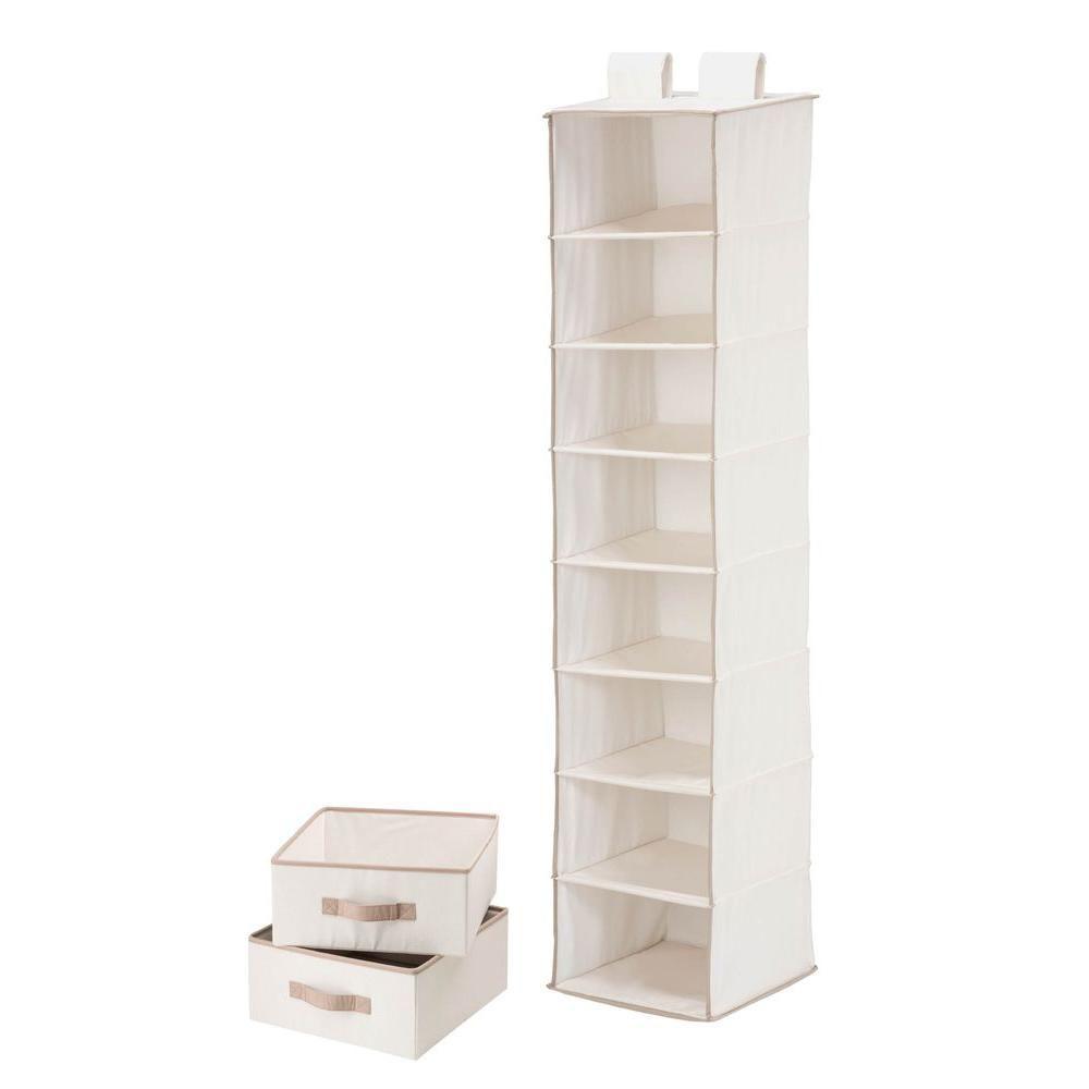 Organisateur à 8 étagères et 2 tiroirs, polyester et coton naturel T/C