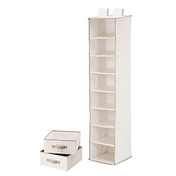 Honey-Can-Do International 8-Shelf 2-Drawer Organizer and in Natural Polycotton
