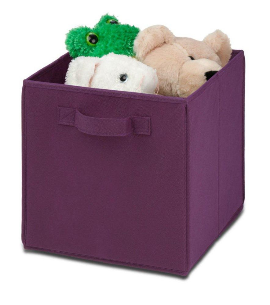 Honey-Can-Do International 4 pack Non-woven foldable cube- purple