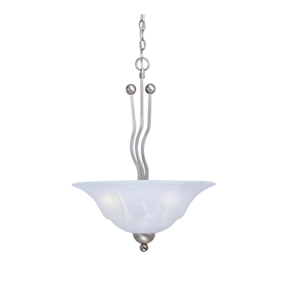 Concord 3 Light Ceiling Brushed Nickel Incandescent Pendant with a White Marble Glass