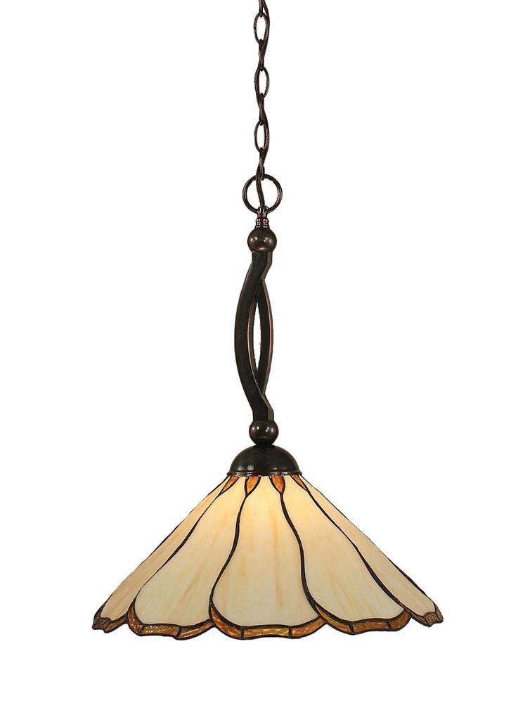 Concord 1 lumière au plafond Noir Copper Pendeloque incandescence par une Honey Brun et verre sel...