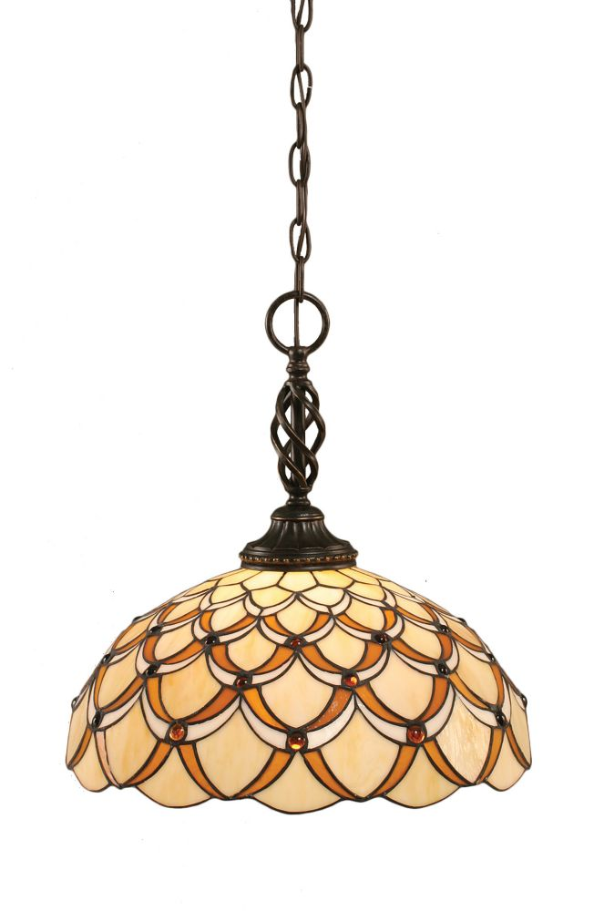 Concord 1-Light Ceiling Dark Granite Pendant with a Honey and Brown Tiffany Glass