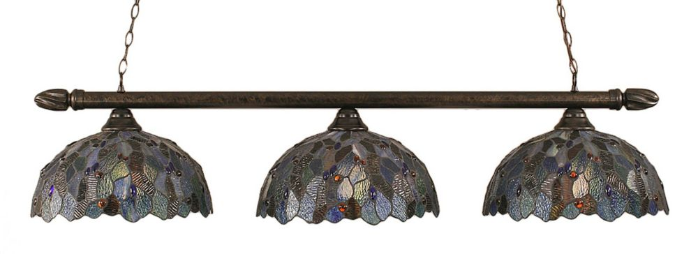 Concord 3-Light Ceiling Bronze Billiard Bar with a Blue Mosaic Tiffany Glass