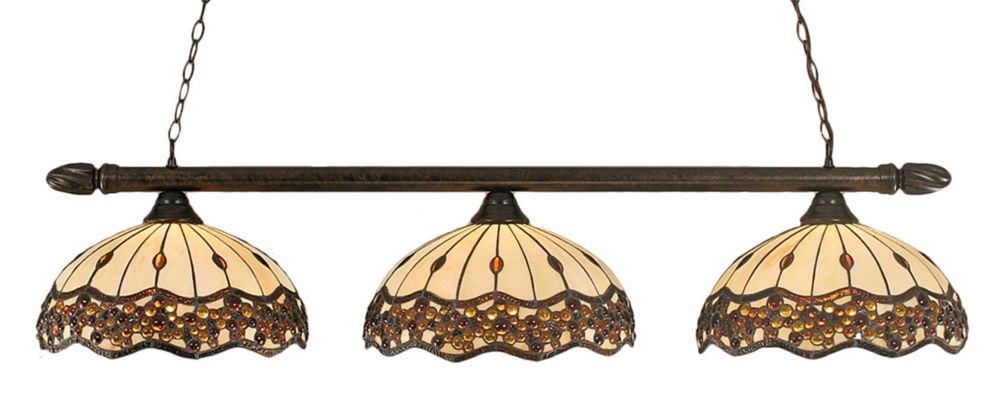 Concord 3 Light Ceiling Bronze Incandescent Billiard Bar with a Roman Jewel Tiffany Glass
