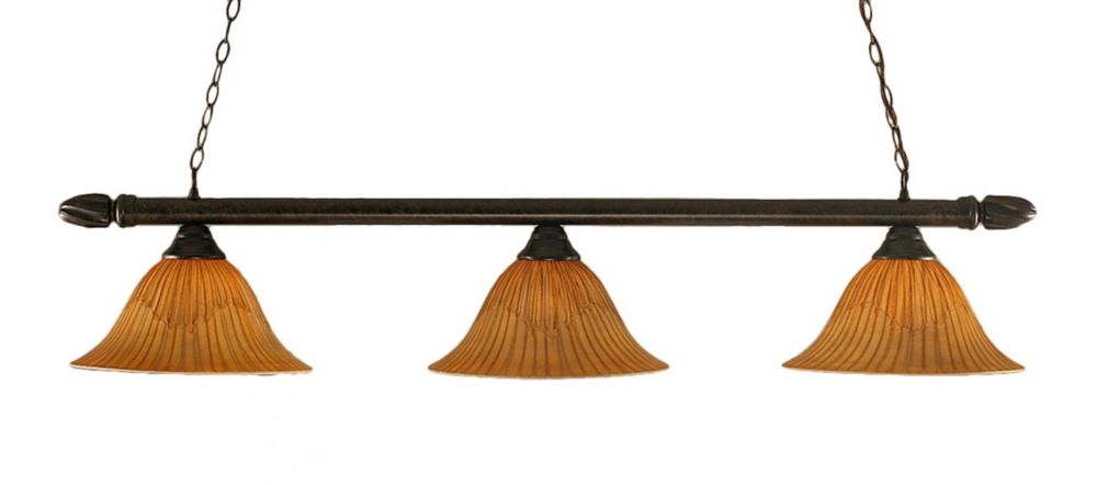 Concord 3-Light Ceiling Bronze Billiard Bar with a Tiger Glass
