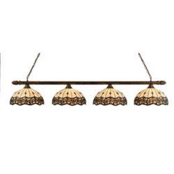 Filament Design Concord 4 lumières plafond Bronze Incandescent Bar Billard Avec Un Roman Jewel Le verre selon Tiffany