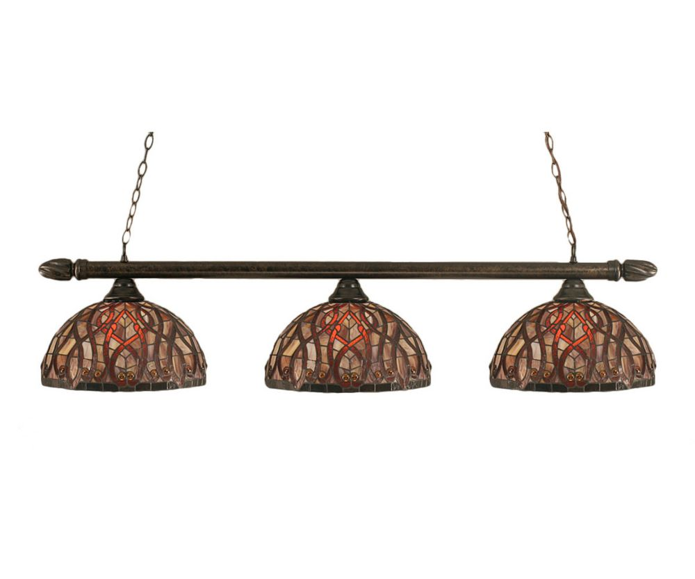 Concord 3-Light Ceiling Bronze Billiard Bar with a Persian Nites Tiffany Glass