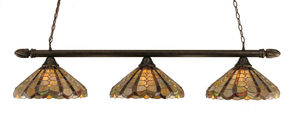 Concord 3-Light Ceiling Bronze Billiard Bar with a Paradise Tiffany Glass
