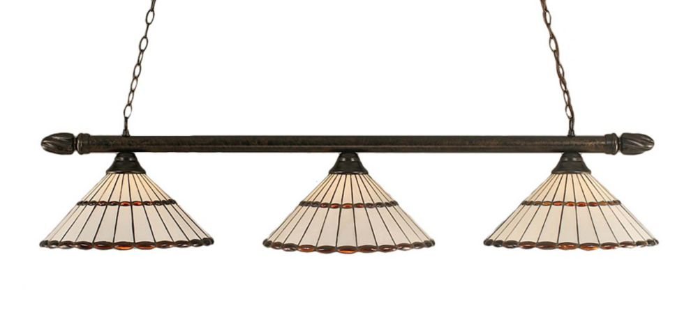 Concord 3-Light Ceiling Bronze Billiard Bar with a Honey and Brown Tiffany Glass