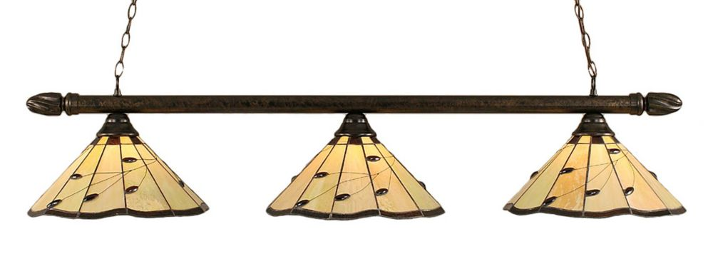 Concord 3 Light Ceiling Bronze Incandescent Billiard Bar with autumn Leaves Tiffany Glass