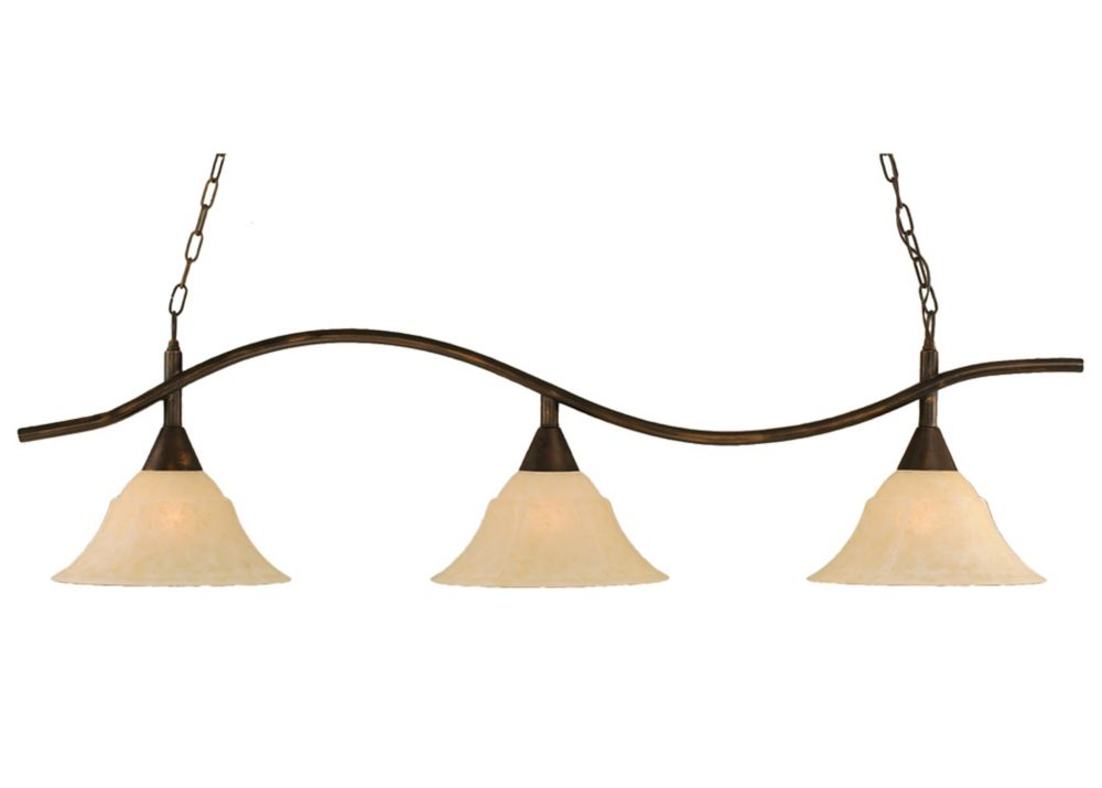 Concord 3 Light Ceiling Bronze Incandescent Billiard Bar with an Amber Glass