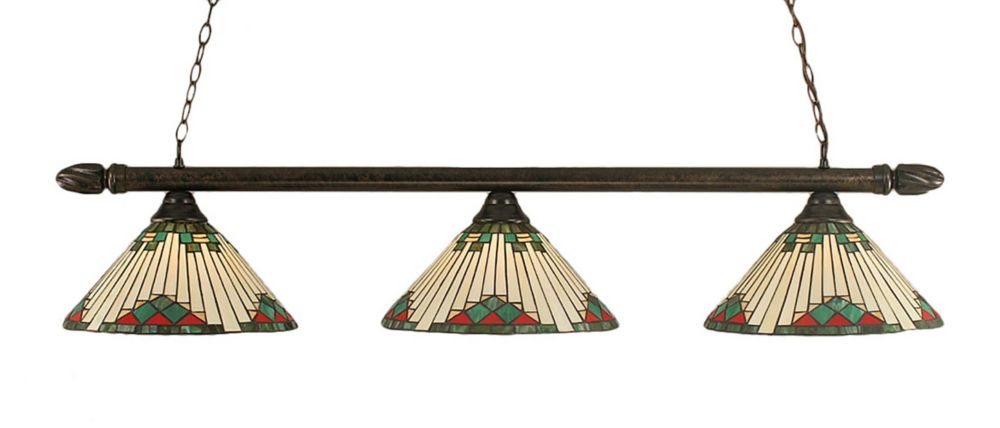 Concord 3-Light Ceiling Bronze Billiard Bar with a Green Tiffany Glass
