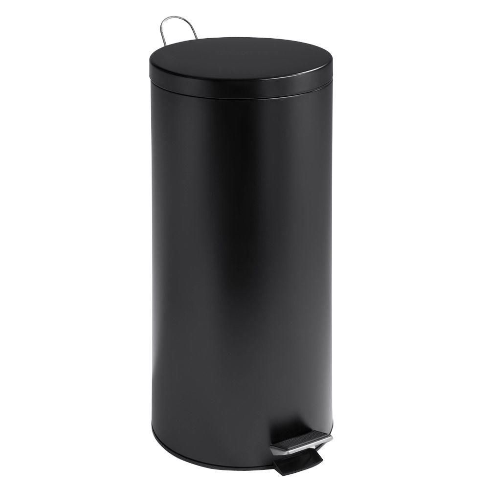 30L Round Black Matte Can with Bucket