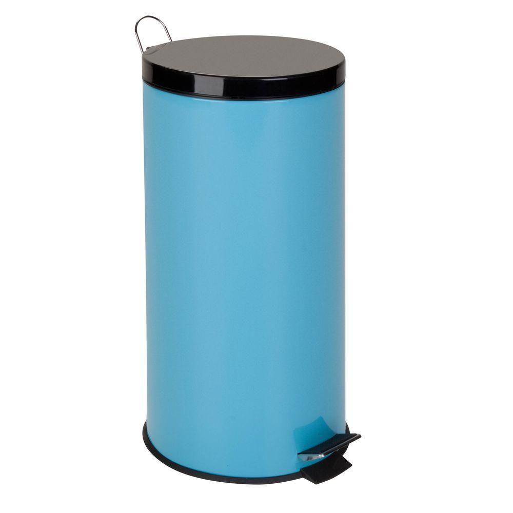 30L Metal Step Trash Can, Blue