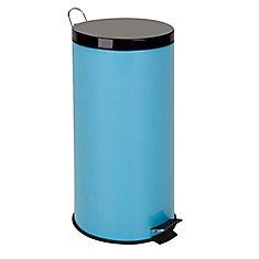 30l metal step trash can blue