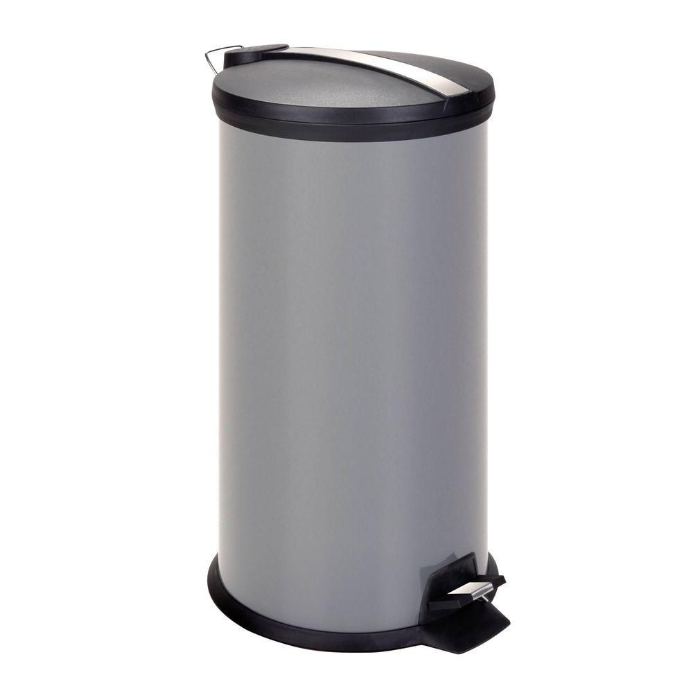 30L Metal Step Trash Can, Gray