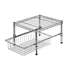 11-inch H x 15-inch W x 18-inch D Adjustable Steel Shelf with Basket Cabinet Organizer in Chrome