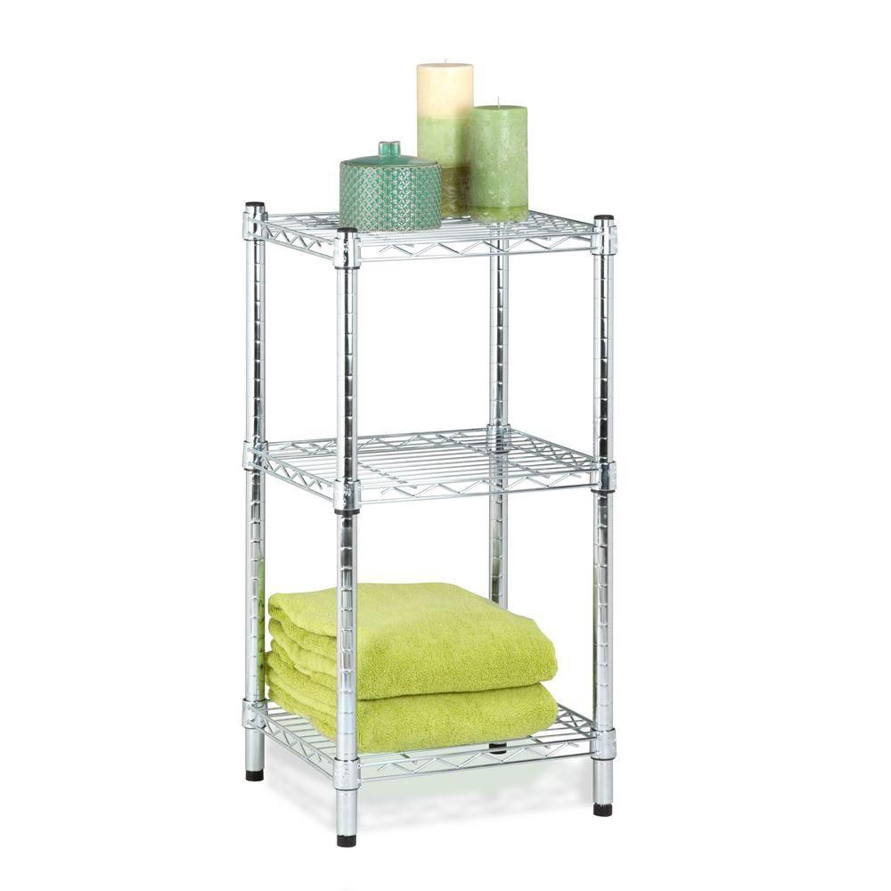 3-Tier chrome wire shelving tower 14x15x30""