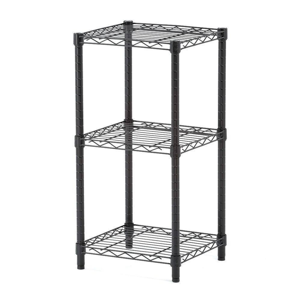 3-Tier black wire shelving tower 14x15x30""