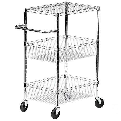 3-Tier Steel Wire Heavy Duty Rolling Storage Cart in Chrome