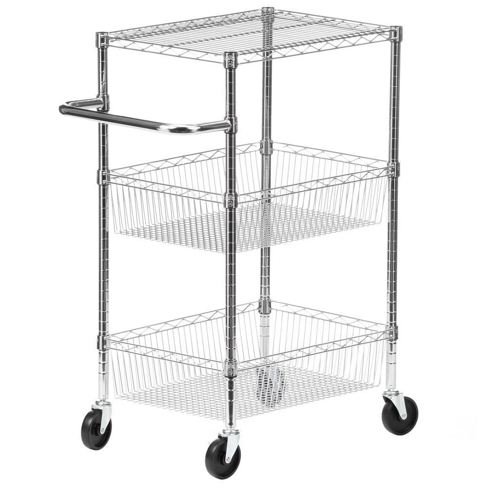 Honey-Can-Do International 3-Tier Steel Wire Heavy Duty Rolling Storage Cart in Chrome