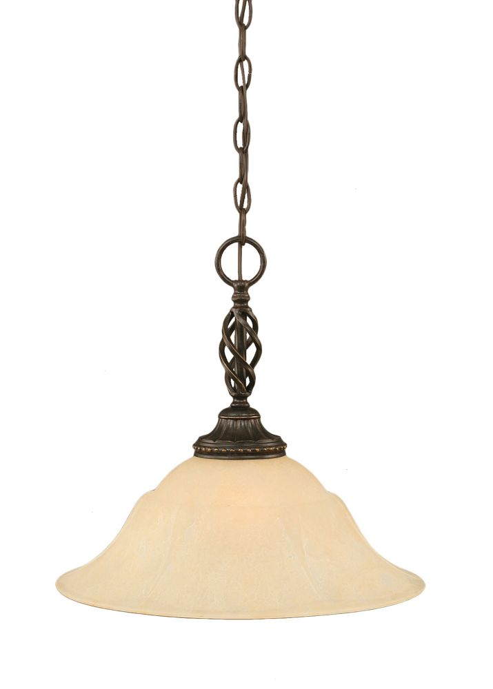 Concord 1 Light Ceiling Dark Granite Incandescent Pendant with an Amber Glass