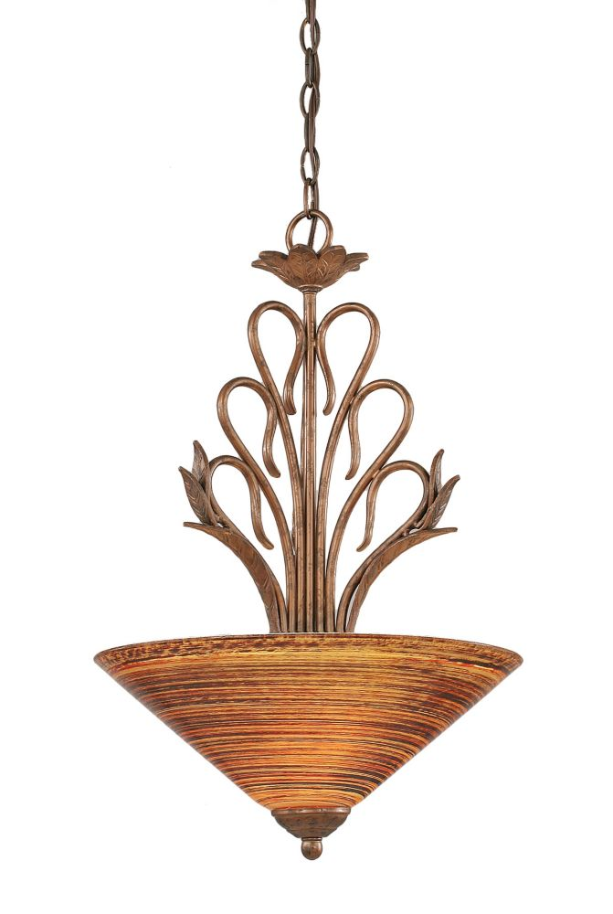 Concord 3 Light Ceiling Bronze Incandescent Pendant with a Firré Saturn Glass