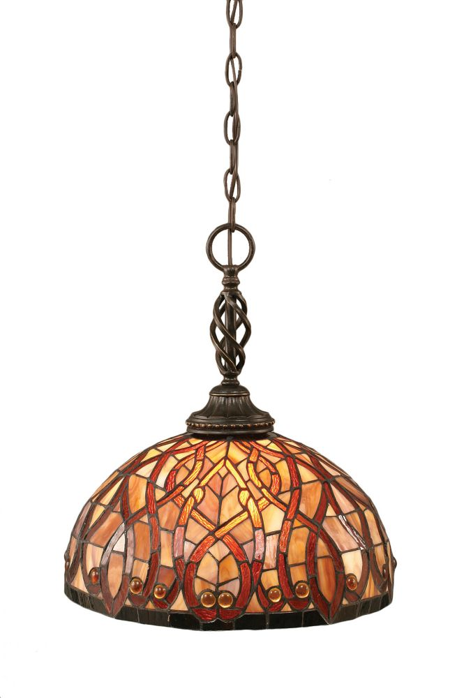 Concord 1 Light Ceiling Dark Granite Incandescent Pendant with a Persian Nites Tiffany Glass