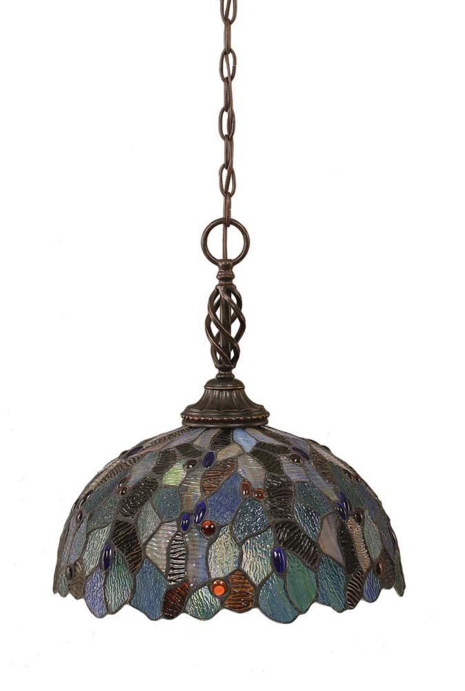 Concord 1-Light Ceiling Dark Granite Pendant with a Blue Mosaic Tiffany Glass