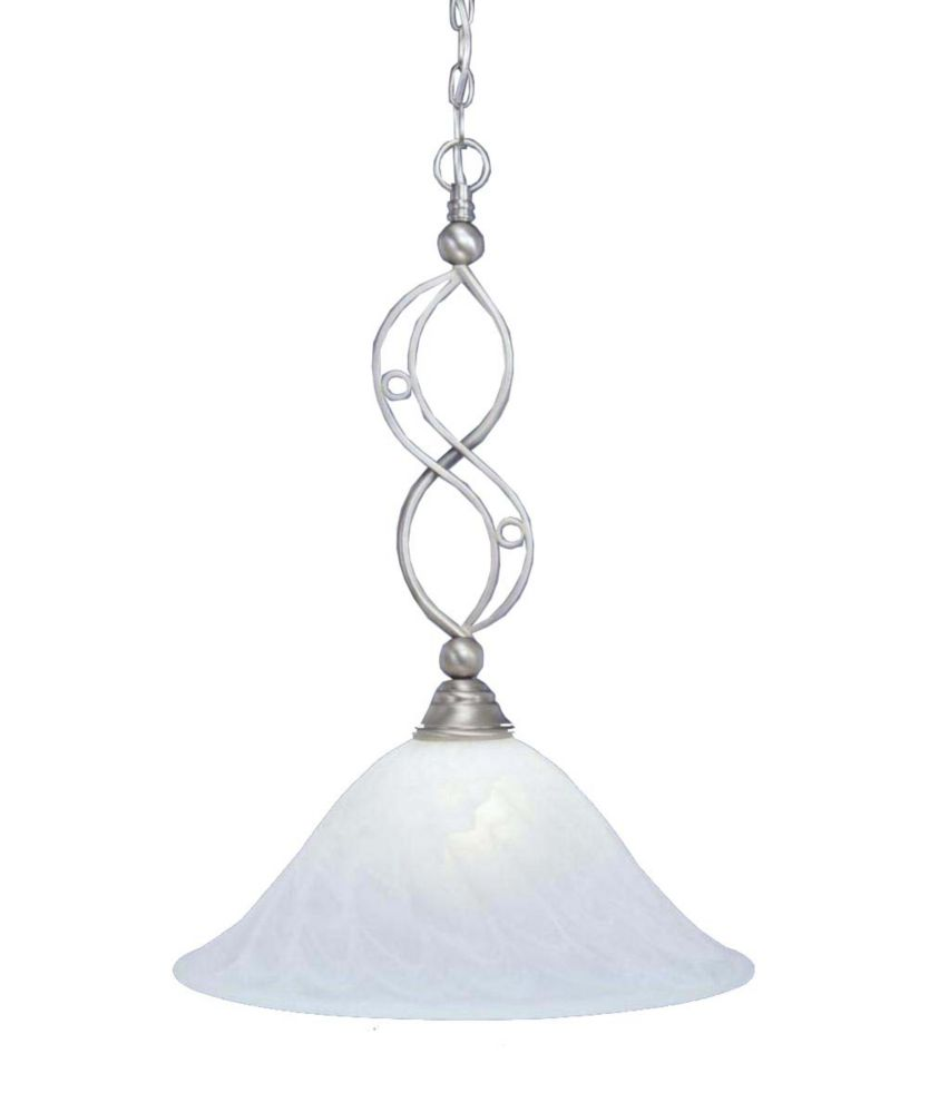 Concord 1-Light Ceiling Brushed Nickel Pendant with a Swirl Glass