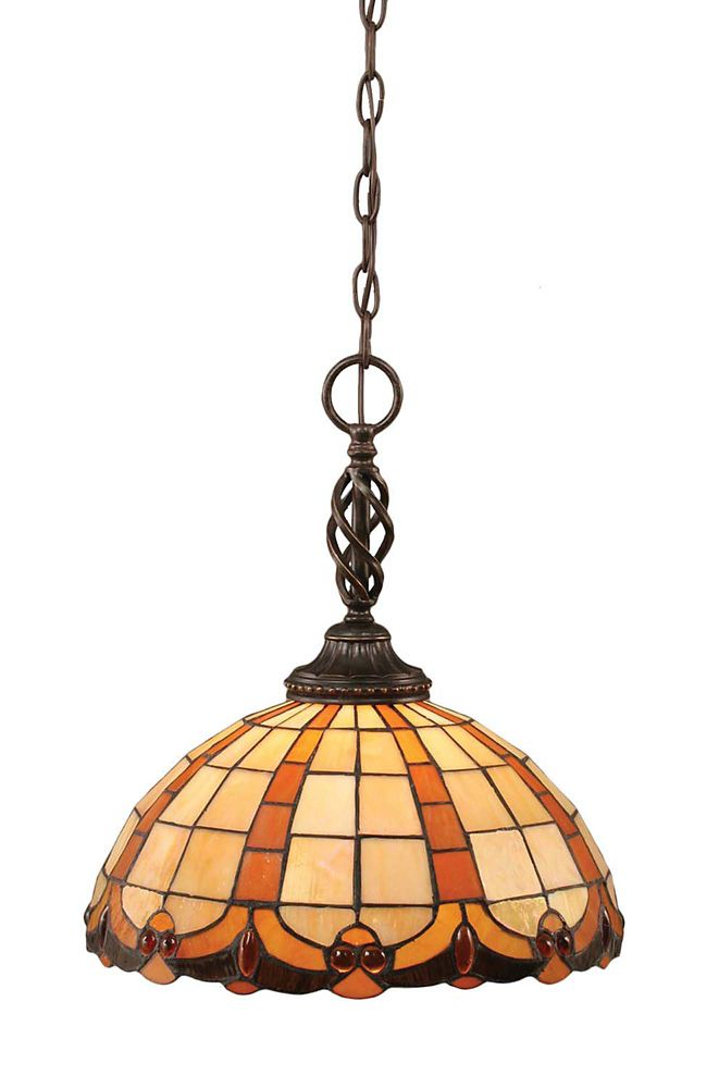 Concord 1 Light Ceiling Dark Granite Incandescent Pendant with a Butterscotch Tiffany Glass