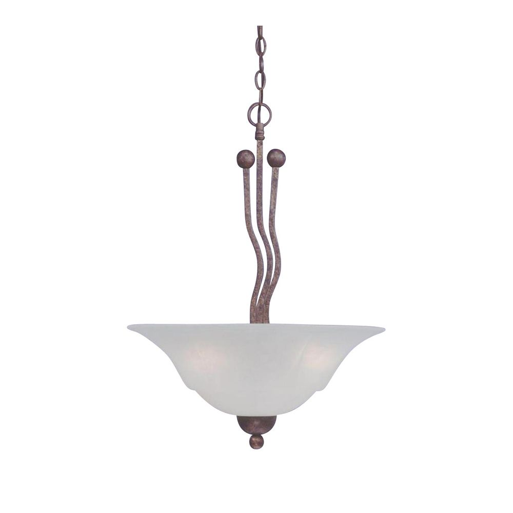 Concord 3-Light Ceiling Bronze Pendant with a White Marble Glass