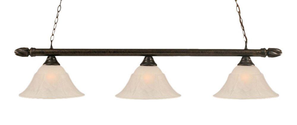 Concord 3 lumières plafond Bronze Incandescent Bar Billard avec un verre de marbre blanc