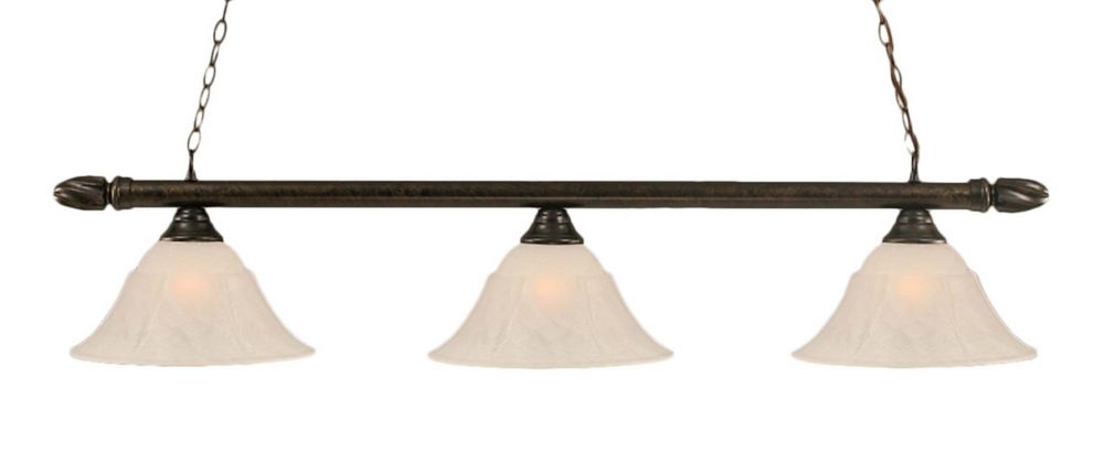 Concord 3-Light Ceiling Bronze Billiard Bar with a White Marble Glass