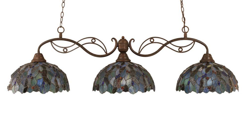 Concord 3 lumières plafond Bronze Incandescent Bar Billard d'une mosaïque bleue Le verre selon Ti...