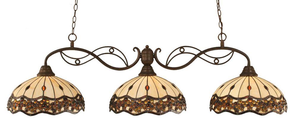 3 lumières plafond Bronze Incandescent Bar Billard Avec Un Roman Jewel Le verre selon Tiffany