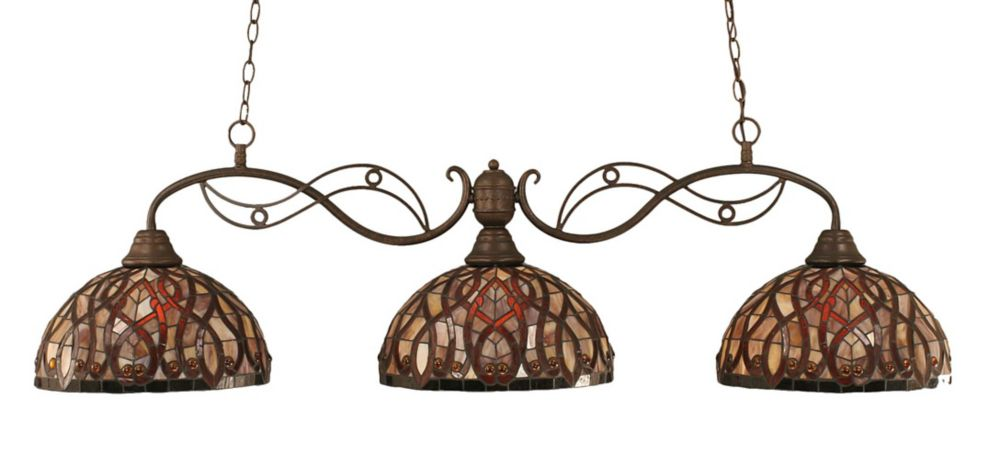 Concord 3 Light Ceiling Bronze Incandescent Billiard Bar with a Persian Nites Tiffany Glass