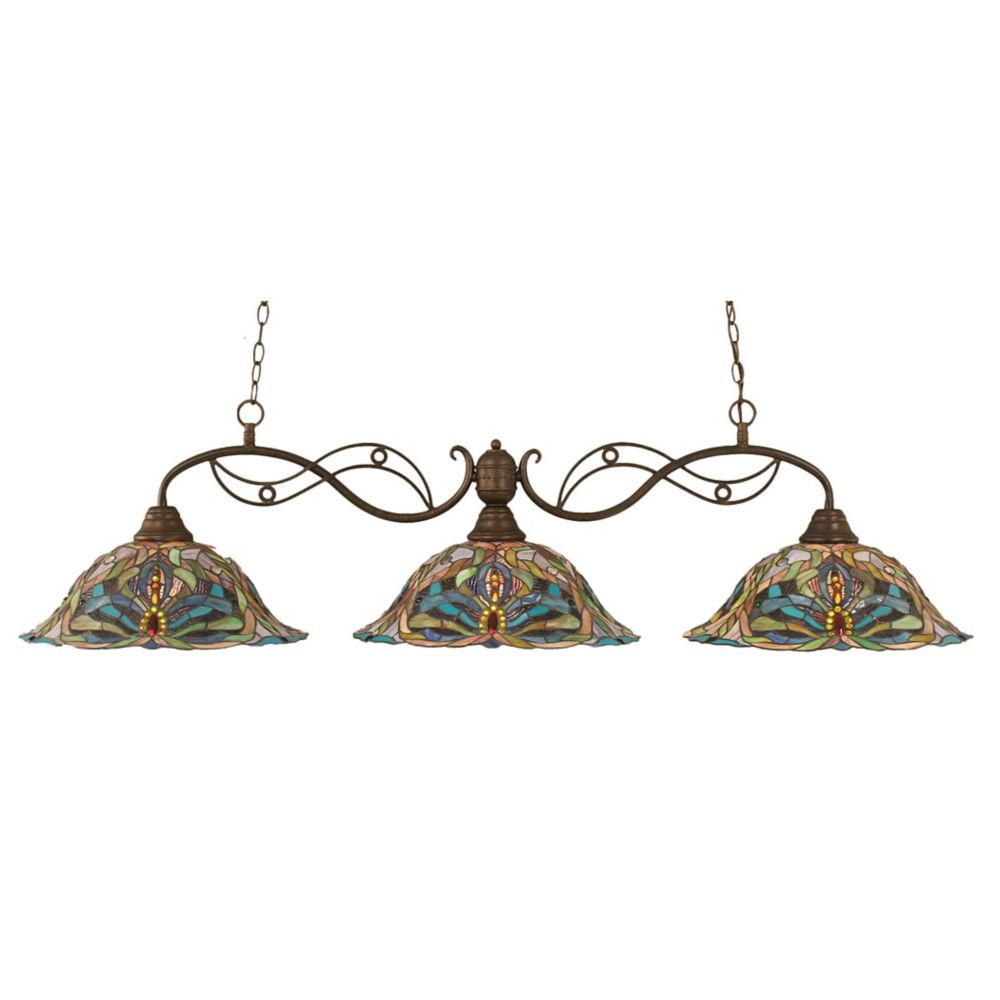 Concord 3 Light Ceiling Bronze Incandescent Billiard Bar with Kaleidoscope Tiffany Glass